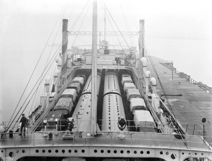 Tanks on trains on ferry | Sir Morton Peto
