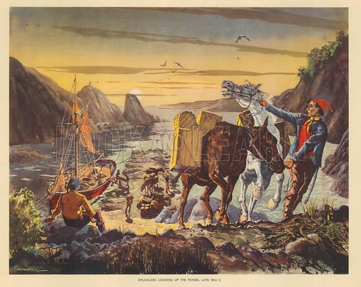 Smugglers loading up the ponies late 18th Century | Lovey Warne