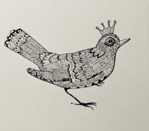 blackbird-zentangling | Blackbird Zentangling Print in Black & White