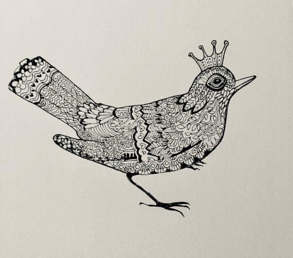 blackbird-zentangling   Blackbird Zentangling Print in Black & White
