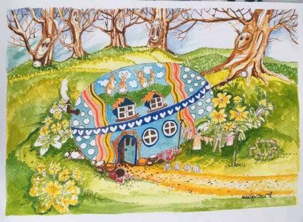 easter-egg-cottage | Easter Egg Cottage Print