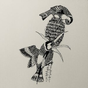 goldfinch-zentangling | Goldfinches Zentangling Print in Black & White