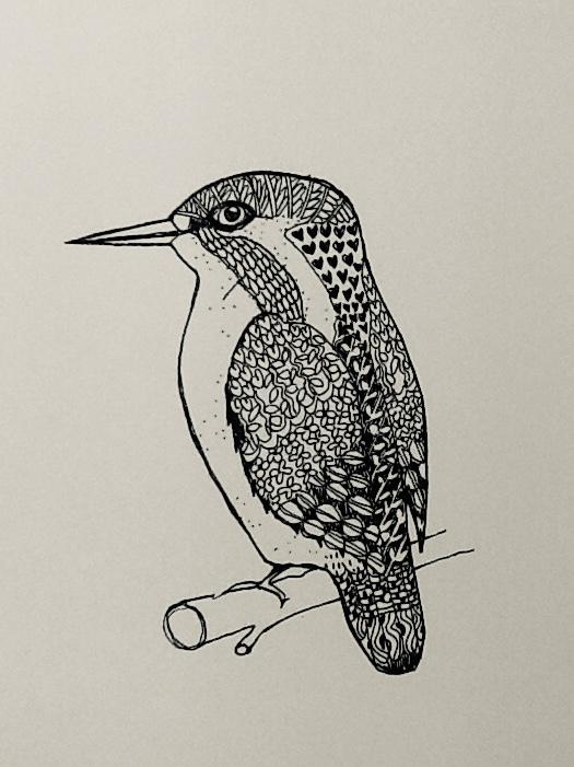 kingfisher-zentangling | Kingfisher Zentangling Print in Black & White