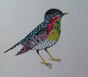 rainbow-bird-zentangling | Rainbow Sparrow Print