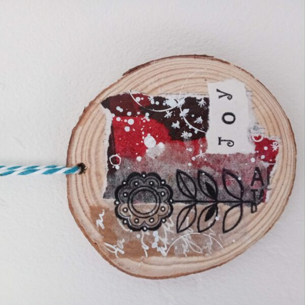 "Joy wood slice 1021 (1) | Mixed media on wood slice ""Joy"""